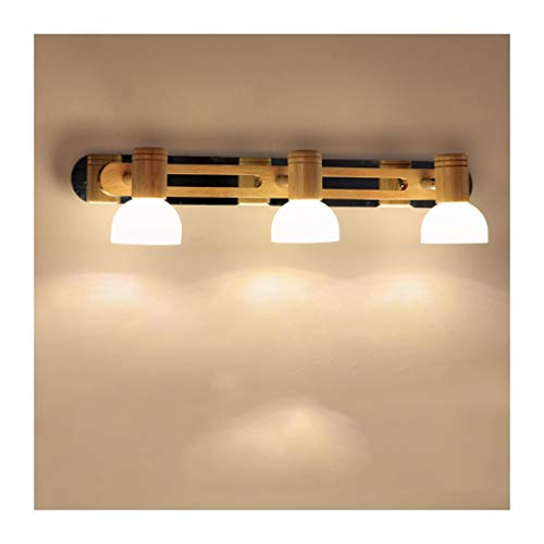 SOARLL- Spiegel Voorlicht Japanse Stijl Logboek Slaapkamer Badkamer Spiegel Voorlicht Eenvoudige Effen Houten Nachtkastje Decoratieve Lamp [Energie Klasse A ++]