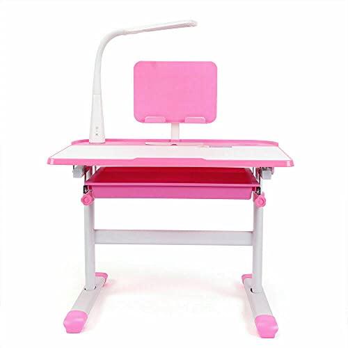 Fetcoi Escritorio infantil con altura regulable e inclinación regulable, escritorio juvenil con lámpara y escritorio para niños, con silla y cajón, color rosa