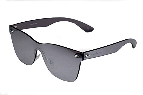 amoloma Rahmenlose Randlose Nur Glas Sonnenbrille silber verspiegelt für Damen und Herren