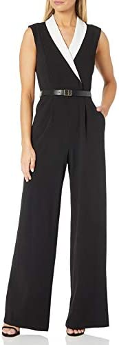 Calvin Klein Women s Jumpsuit with Contrast V Neck Collar Black Cream 8 product image