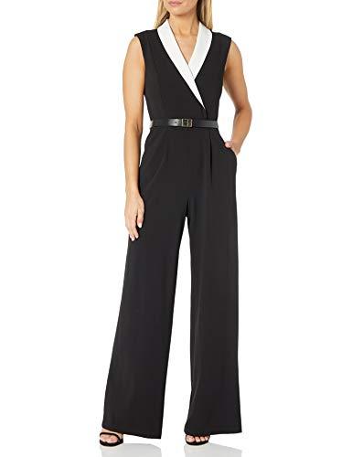 Calvin Klein Damen Jumpsuit with Contrast V-Neck Collar Kleid, schwarz/Creme, 42