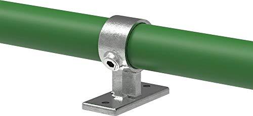 Fenau | Mittelstütze-Rohrverbinder, Handlaufhalterung/Wandhalterung, Ø 42,4 mm, Temperguss galvanisiert, feuerverzinkt, inkl. Schrauben/schräg