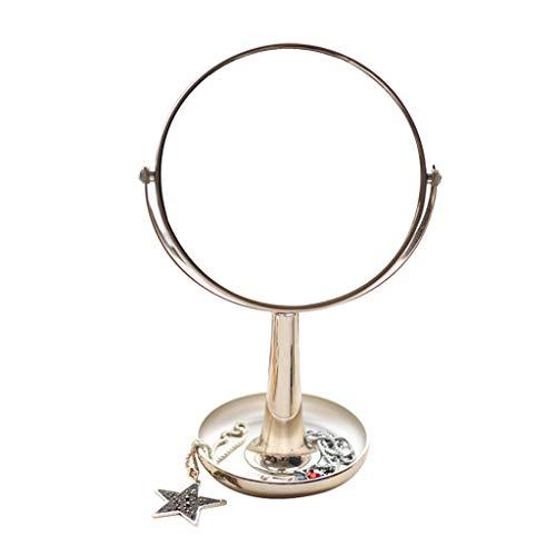 LICCC El Espejo de Escritorio del Escritorio del Espejo Golden Beauty Puede ser ampliado Espejo Doble 18.8 * 28.5cm