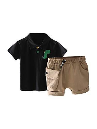 Jongenskleding set, schattige cartoon print korte mouw poloshirt en shorts tweedelig pak voor verjaardagsfeestje fotografie
