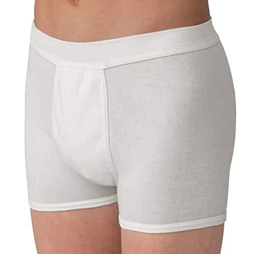 Herren Inkontinenz-Boxershort PROtect | diskrete Short mit integrierter Saugeinlage | kochfest (weiß, XL)