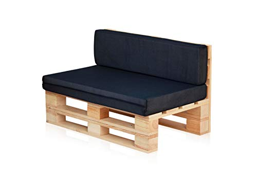 Conjunto Sofa DE PALETS + Set Cojines (Asiento + Respaldo) (120X80, Azul Marino Transpirable)