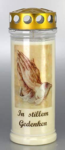 Grablicht-Kerze 21 x 7,5 cm - Hände - 3705 - In stillem - 7 Tage Brenndauer – (Ewiglicht-Ölkerze) - Grabkerze mit Motiv und Spruch - Trauerkerze mit Foto und Spruch