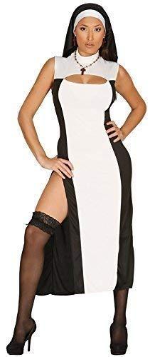 Donna Sexy Bianco Nero Lungo Suora Religioso Nubilato DO Costume Vestito 14-16-18