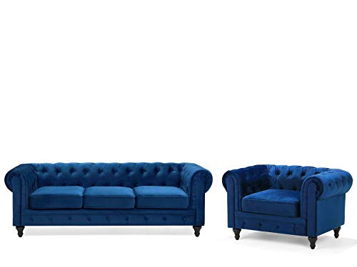 Beliani Klassisches Set Sofa Sessel Samtstoff Chesterfield Stil Kobaltblau Chesterfield