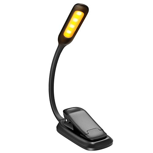 Rechargeable Book Light, TOPELEK LED Reading Light with 3-level Brightness (Cool & Warm), Flexible Easy Clip On Reading Lamp, Eye Protection , Soft Table Light for Night Reading in Bed