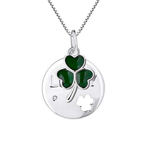 FJ - Collar de trébol de 3 hojas, plata de ley 925, colgante de moneda de la suerte, con cadena de caja de 45,7 cm