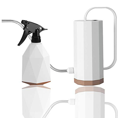 Watering Can Indoor, Small Plant Watering Can with Long Spout, 1.2L/40 oz Plastic Watering Pot for Succulents, Hanging Plants, Bonsai, with Bonus 600ML/ 20.3oz Plant Mister Spray Bottle (Ivoy White)