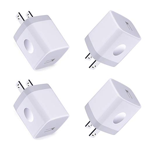 Single USB Port Wall Charger,Charger Cube,1A/5V 4Pack USB Charger Plug Charging Block Box Station Compatible for iPhone11 XS/Max/XR/X/8/7,Samsung Galaxy SS21/20/10/9,Note21/2010/9 A80 90,LG Stylo 6 5