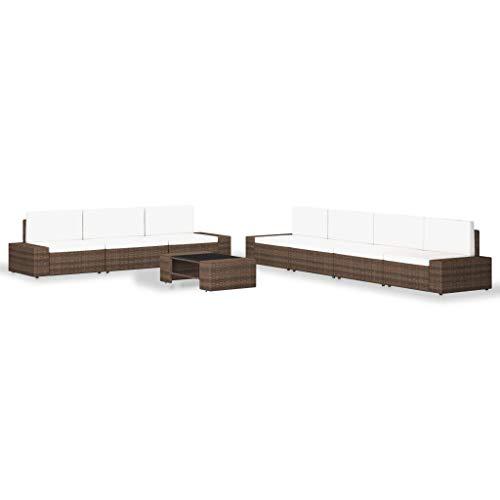 Benkeg Set Muebles de Jardín 8 Piezas Ratán Sintético Marrón, Conjunto de Comedor de Ratán Conjunto de Muebles de Jardín Conjunto de Sofás de Jardín de Ratán