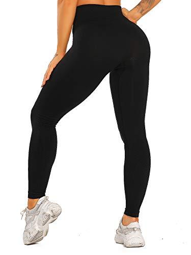 FITTOO Damen Power Flex Yoga Hosen Training Laufende Leggings Active Leggings Slimming Seamless Pants Hose - Schwarz M