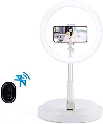 JWCN Ringlicht-LED 11 LED-Ringlicht mit Bluetooth-Fernbedienung Höhenverstellbarer 168 cm Desktop-Ringlicht für YouTube-Video/Live-Stream/Make-up * (Farbe: Schwarz)-Weiß Uptodate