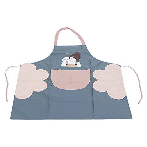 Delantal de cocina, lindo patrón de belleza para niña, impermeable, suave, de moda, cosmético, delantal con bolsillo para barbacoa para hornear, toalla de cintura para maquillador para(gris)
