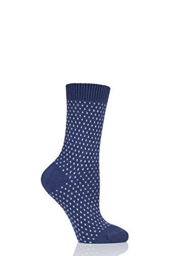 Pantherella Damen W756 Dotty 85prozent Kaschmir Socken Packung mit 1 Dunkelblau 36-40
