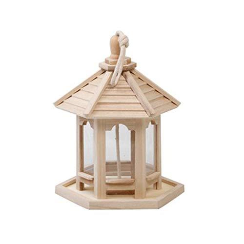 Hängende Vogelfutterbox aus Holz im Freien, Balkon-Gartenpark-Kolibri-Feeder, sechseckiger Pavillon-Outdoor-Bird-Feeder-Innenhof
