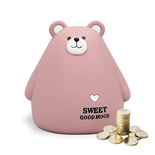 Hucha Infantil huchas Originales Decorativas niñas y niños Ahorrar Dinero Resina Creativa Oso Lindo (Rosa)
