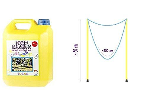 TUBAN Kit Giochi Bolle di Sapone-Tanica da 5 Litri Liquido Professionale + Bacchette da 50 cm per Creare Bolle di Sapone Gigante
