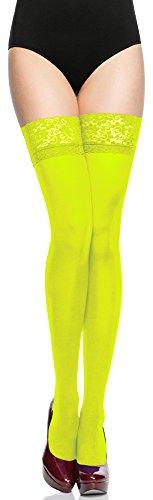 Merry Style Damen halterlose Mikrofaser 40 DEN Strümpfe mit Spitze MSSSJ01 (Neongelb, 3/4 (40-44))