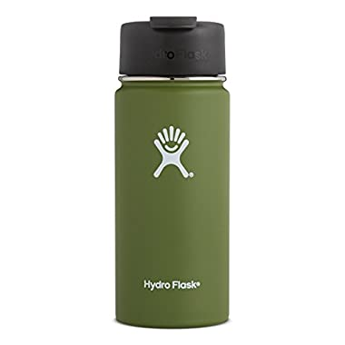 Hydro Flask 16 oz Double Wall Vacuum Insulated Stainless Steel Water Bottle/Travel Coffee Mug, Wide Mouth with BPA Free Hydro Flip Cap, Olive