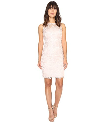 Adrianna Papell Women's Sleevless Sequin Guipure Lace Sheath Cocktail Dress, Blush, 16