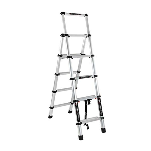 YTC Escalera Plegable telescópica con la barandilla de Aluminio Multiuso portátil Escalera Plegable for Trabajo Pesado for el hogar Ingeniería (Size : 3.2+3.8m)