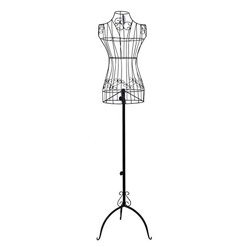 SONGMICS Réglable Porte vêtement Mannequin de Couture Buste en Fer Forgé Femme Noir Hauteur 170 cm HRA10B