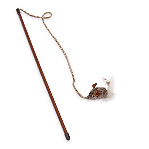 OurPets Play-N-Squeak Teathered & Feathered Play Wand Cat Toy