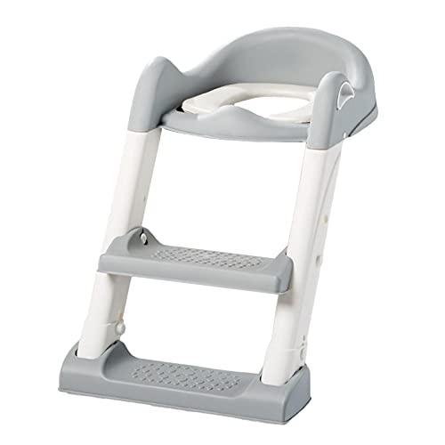 Wangduodu Asiento Inodoro Niños con Escalera para Orinal Infantil Formación, Asiento de Entrenamiento para IR al baño, Adaptador WC para Niños Acolchado Suave con Escalón Plegable Ajustable