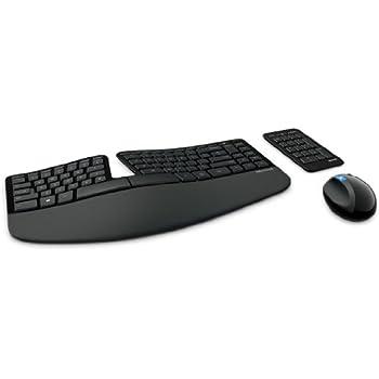 Microsoft – Sculpt Ergonomic Desktop – Ensemble clavier et souris ergonomiques sans fil avec récepteur USB (repose poignets, pavé numérique séparé) – (Clavier AZERTY français) – Noir (L5V-00007)