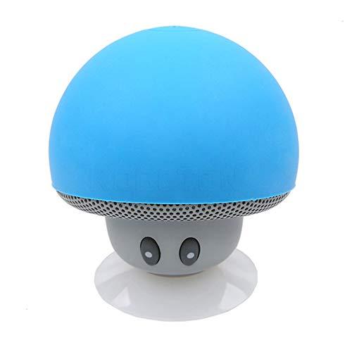 YUHUANG Tragbarer Lautsprecher, Pilz tragbare drahtlose wasserdichte Dusche Stereo-Subwoofer Musik-Player für IOS und Android-blau