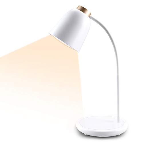 Collen Schreibtischlampe LED, USB Tischlampe 5W 3 Farb und 7 Helligkeitsstufen Dimmbar Tischleuchte mit Touchbedienung, Augenschutz verstellbarer Schwanenhals [Energieklasse A+] (tyrantgold)