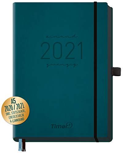 Chäff-Timer Deluxe Kalender 2020/2021 A5 [Petrol] Terminplaner 18 Monate: Juli 20 - Dez. 21 | Terminkalender, Wochenplaner mit Stiftschlaufe, Gummiband & Einstecktasche | nachhaltig & klimaneutral