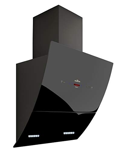 KATTICH MERC 60 cm Curved Glass Design 1350 Suction Auto-clean Chimney Powered by Electronic Motorized Hydraulic Vent Opening & Gesture Control