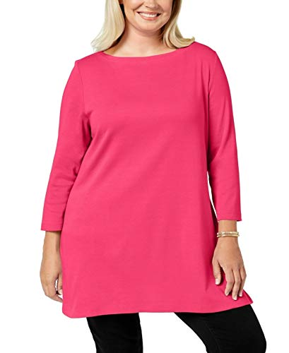 Karen Scott Womens Plus Cotton Boatneck Top Pink 0X