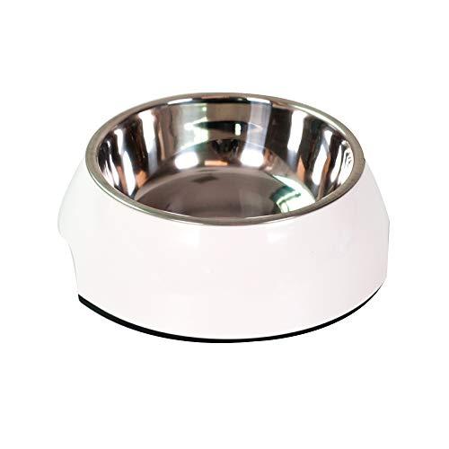 AYCC Large Dog Food/Water Bowls (Afneembare RVS Bowl In Ronde Melamine Stand Met Niet Skid Rubber Bottom), Gemakkelijk Schoon Vaatwasser