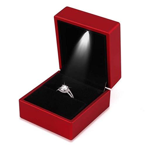 Yodio Caja de anillo de compromiso con luz LED, caja de regalo para boda, San Valentín, aniversario, Navidad (caja de anillo LED)