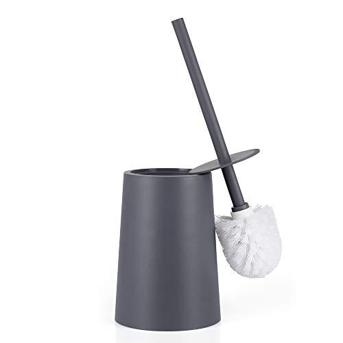 Santrue Grau WC Bürste und Halter Mit Deckel Kunststoff Toilettenbürste Mit Halter toilettenbürstenhalter Grau WC bürstenhalter