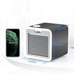 Mini refrigerador de aire acondicionado personal portátil humidificador purificador ventilador de refrigeración para dormitorio, hogar, oficina, viajes, 3 velocidades