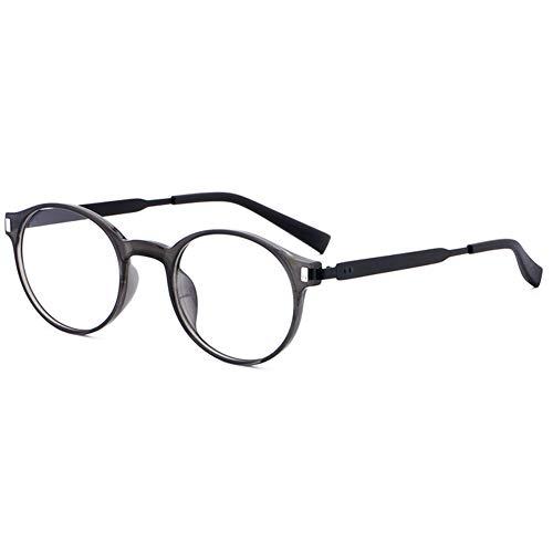 VEVESMUNDO Anti Blaulicht Blaulichtfilter Brillen ohne sehstärke Damen Herren Klassische TR90 Metall Retro Rund Computer Brillengestelle Brillenfassung mit Brillenetui (Grau)