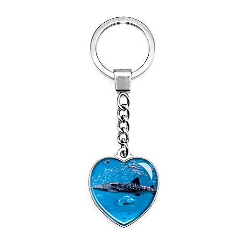UAE Dubai Aquarium Schlüsselanhänger Kreativ Doppelseitig Herz Form Kristall Schlüsselanhänger Reise Souvenir Metall