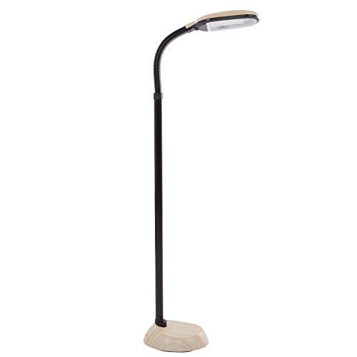Lavish Home (72-G0820) 5 Feet Sunlight Floor Lamp With Adjustable Gooseneck - Light Wood Grain