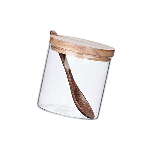 DOITOOL Barattolo in vetro con cucchiaio e coperchi ermetici, contenitore per spezie, contenitori per tè, erbe, zucchero, sale, caffè, farina, erbe, cereali(casuale cucchiaio)