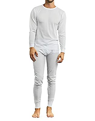 Men's 2pc Long Thermal Underwear Set (White, Small)