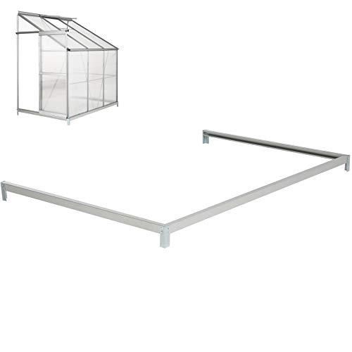 TecTake Base pour Serre de Jardin adossée en Acier galvanisé 190x127x12 cm