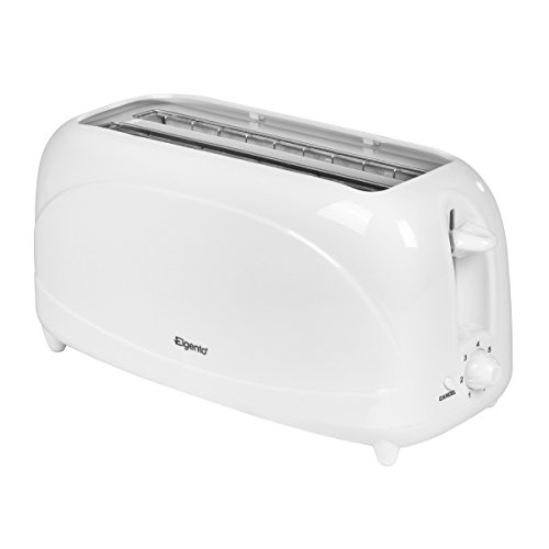Elgento 4-Slice Long Slot Toaster with 6 Variable Browning Settings, Auto Shut Off, Removable Crumb Tray, 1200 W, White