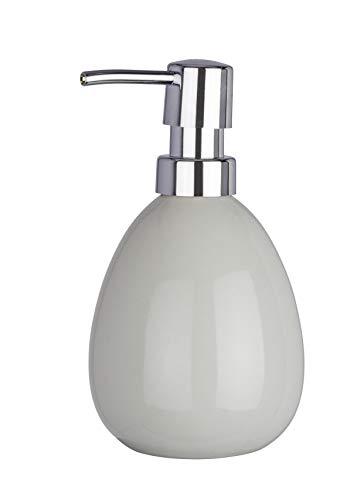 WENKO Seifenspender Polaris Pastel Grey Keramik - Flüssigseifen-Spender, Spülmittel-Spender Fassungsvermögen: 0.39 l, Keramik, 9.5 x 16 x 9 cm, Hellgrau